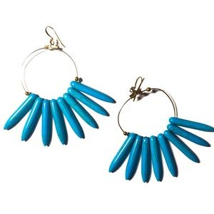 Jewelry - TURQUOISE MARBLED TEETH STATEMENT EARRINGS!